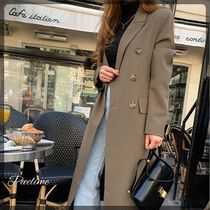 Zigzag Casual Style Long Office Style Chester Coats