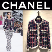 CHANEL ICON Other Check Patterns Casual Style Wool Tweed Blended Fabrics
