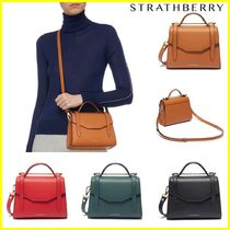 STRATHBERRY 2WAY Plain Leather Elegant Style Shoulder Bags