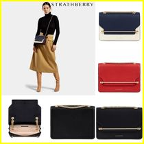 STRATHBERRY 2WAY Chain Plain Leather Elegant Style Shoulder Bags