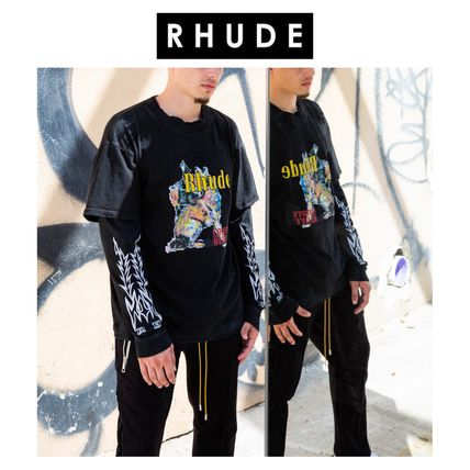 RHUDE Long Sleeve Unisex Street Style Long Sleeves Long Sleeve T-shirt Logo