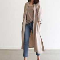 Casual Style Blended Fabrics Street Style Plain Long Midi
