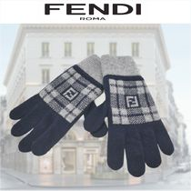 FENDI Other Check Patterns Wool Street Style Gloves Gloves