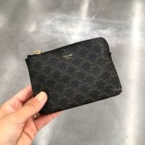 CELINE Triomphe Monogram Unisex Canvas Long Wallet  Logo Coin Cases