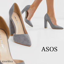 ASOS Casual Style Suede Blended Fabrics Plain Block Heels
