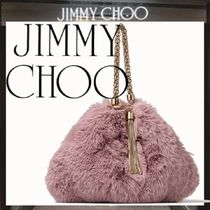 Jimmy Choo Faux Fur Chain Party Style Elegant Style Clutches