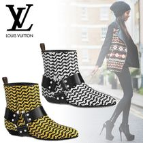 Louis Vuitton Studded Bi-color Leather Elegant Style Ankle & Booties Boots