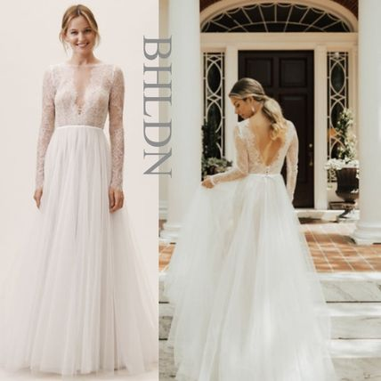 Bhldn Flower Patterns Long Sleeves Long Lace Wedding Dresses Style 50294610