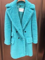 MaxMara TEDDY BEAR Wool Blended Fabrics Plain Medium Elegant Style Peacoats