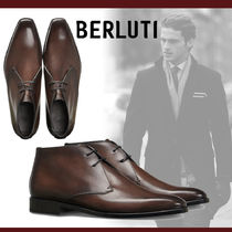 Berluti Plain Toe Plain Leather Chukkas Boots