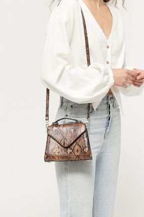 2WAY Leather Office Style Python Elegant Style Shoulder Bags