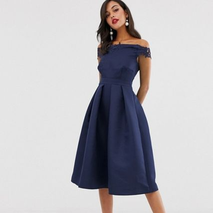 Short Flared Plain Party Style Dresses