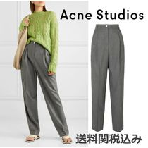 Acne Wool Plain Leather Long Elegant Style