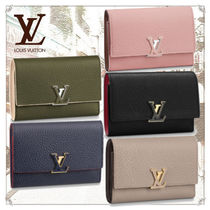 Louis Vuitton TAURILLON Blended Fabrics Plain Leather Folding Wallets