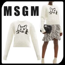 MSGM Crew Neck Cable Knit Casual Style Wool Long Sleeves Plain