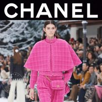 CHANEL ICON Short Other Check Patterns Wool Tweed Blended Fabrics