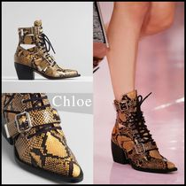 Chloe Other Animal Patterns Leather Block Heels