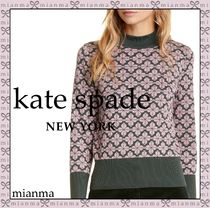 kate spade new york Flower Patterns Long Sleeves Cotton Medium High-Neck