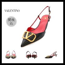 VALENTINO Casual Style Bi-color Plain Leather Pin Heels Party Style