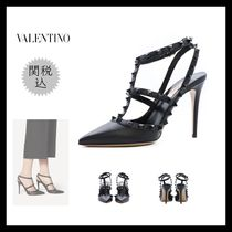 VALENTINO Casual Style Studded Plain Leather Pin Heels Party Style