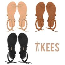 TKEES Open Toe Rubber Sole Casual Style Suede Plain Flip Flops