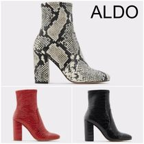 ALDO Plain Toe Casual Style Other Animal Patterns Block Heels