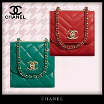 CHANEL MATELASSE Casual Style Chain Plain Leather Party Style Elegant Style