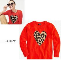 J Crew Heart Leopard Patterns Casual Style Cashmere Cashmere