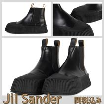 Jil Sander Rubber Sole Casual Style Plain Leather Chelsea Boots