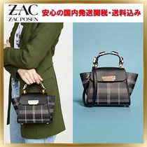 ZAC ZAC POSEN Tartan Flower Patterns 2WAY Leather Elegant Style