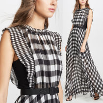 SELF PORTRAIT Gingham Maxi Chiffon Sleeveless Long Party Style