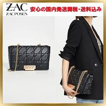 ZAC ZAC POSEN Other Check Patterns Studded Chain Leather Elegant Style