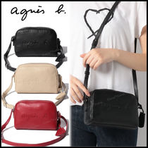 Agnes b Plain Leather Elegant Style Logo Shoulder Bags