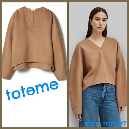 Casual Style Cashmere V-Neck Puff Sleeves Cashmere