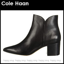 Cole Haan Casual Style Plain Leather Block Heels Ankle & Booties Boots