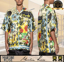 MARTINE ROSE Flower Patterns Tropical Patterns Casual Style Short Sleeves
