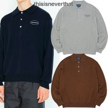 thisisneverthat Street Style Long Sleeves Plain Cotton Polos