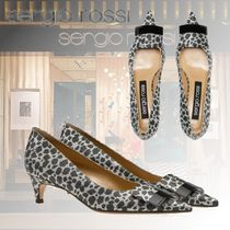 Sergio Rossi Leopard Patterns Open Toe Plain Elegant Style
