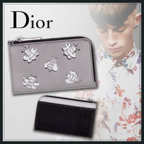 Christian Dior Calfskin Street Style Plain Other Animal Patterns Coin Cases