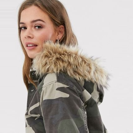 Camouflage Casual Style Faux Fur Medium Front Button
