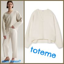 TOTEME Casual Style Cashmere V-Neck Puff Sleeves Cashmere