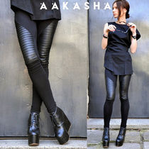 Aakasha Casual Style Blended Fabrics Plain Leather Long Handmade