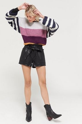 Crew Neck Short Stripes Casual Style Street Style