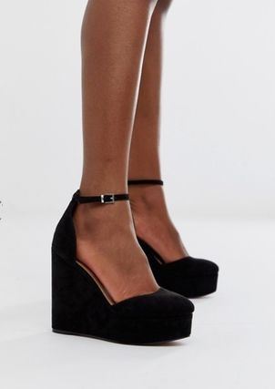 ASOS Platform Round Toe Casual Style Suede Plain
