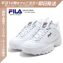 FILA Unisex Street Style Leather Oversized Dad Sneakers Logo