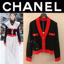 CHANEL ICON Wool Cashmere Blended Fabrics Street Style Bi-color