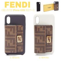 FENDI BAGUETTE Monogram Unisex Blended Fabrics Plain Leather Oversized
