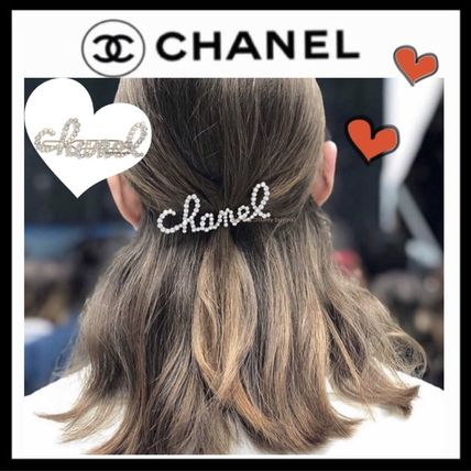 CHANEL ICON Costume Jewelry Barettes Blended Fabrics Party Style Brass