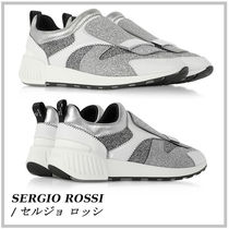 Sergio Rossi Plain Toe Rubber Sole Casual Style Street Style Leather