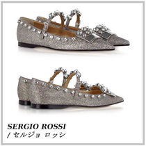 Sergio Rossi Studded Leather Ballet Shoes